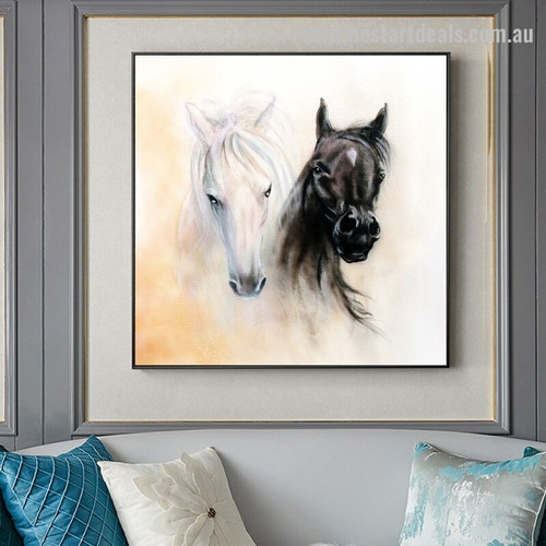 Black and White Horse Animal Modern Framed Painting Image Canvas Print for Room Wall Decor