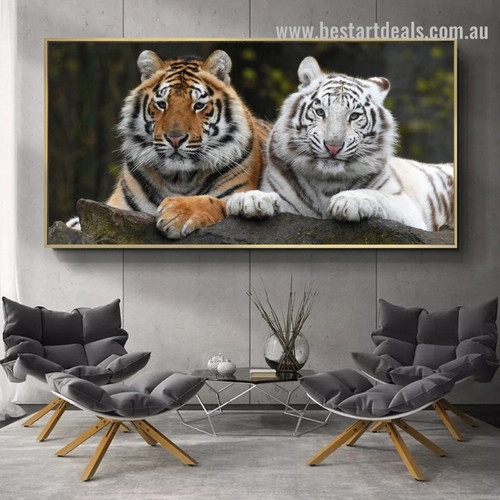 Wooded Tigers Animal Modern Framed Portraiture Image Canvas Print for Room Wall Garniture