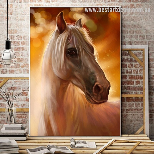 Equine Face Animal Modern Framed Portrayal Picture Canvas Print for Room Wall Decor