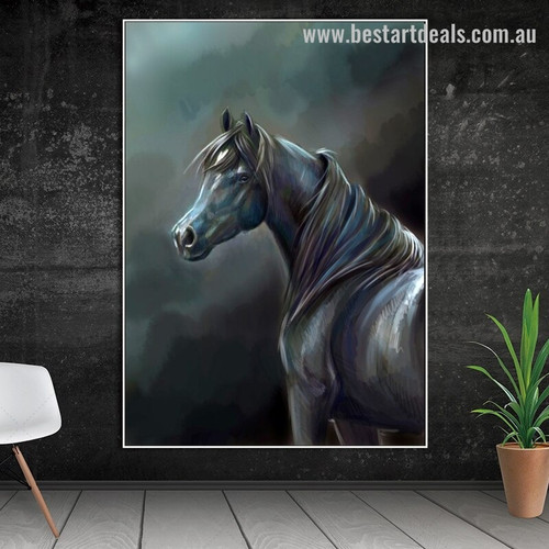 Horse Mask Animal Modern Framed Portrayal Photo Canvas Print for Room Wall Outfit