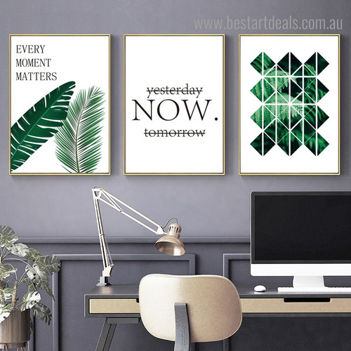 Green Foliage Botanical Quote Modern Framed Painting Photo Canvas Print for Room Wall Getup