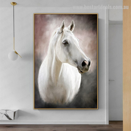 White Horse Face Animal Modern Framed Portrayal Pic Canvas Print for Room Wall Drape