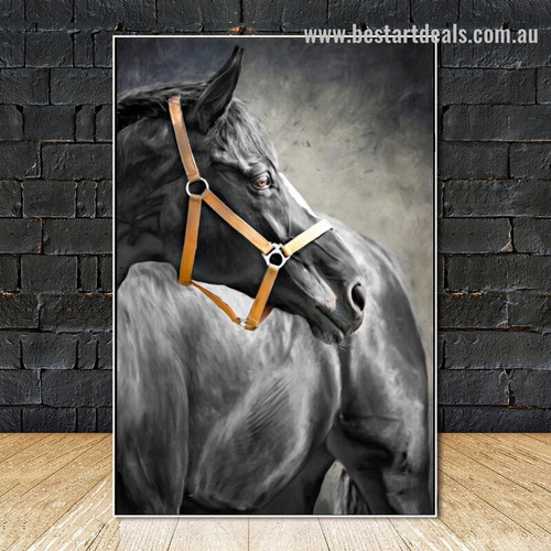 Black Steed Animal Modern Framed Painting Picture Canvas Print for Room Wall Decor