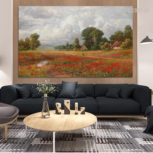 Field of Poppies Alois Arnegger Reproduction Framed Artwork Photo Canvas Print for Room Wall Getup