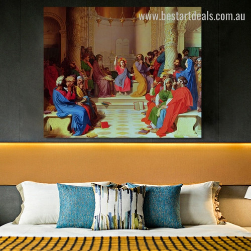 Jesus Among Doctors Jean Auguste Religious Reproduction Framed Artwork Image Canvas Print for Room Wall Disposition