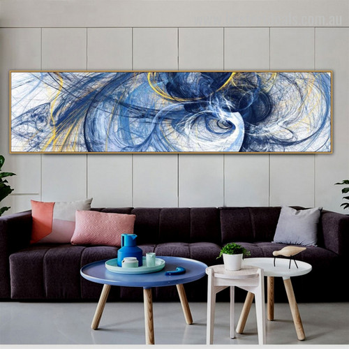 Motley Lines Large Abstract Modern Framed Smudge Photo Canvas Print for Room Wall Decor
