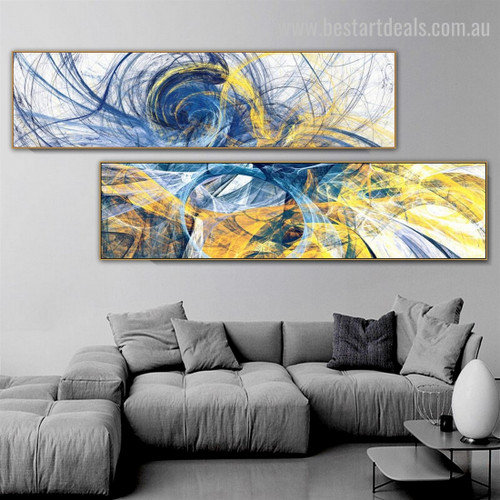 Curved Strokes Large Abstract Modern Framed Artwork Picture Canvas Print for Room Wall Outfit