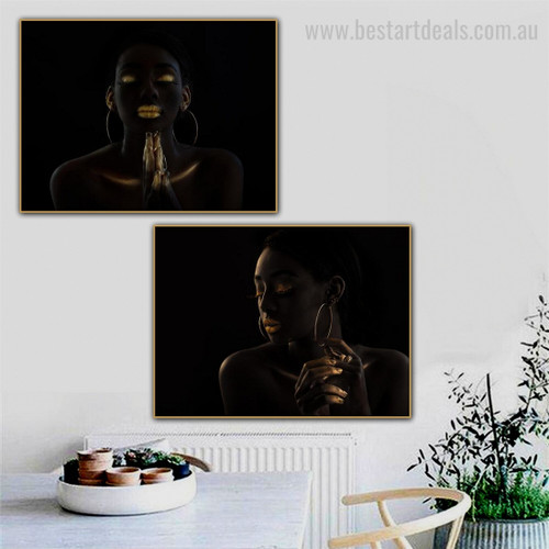 African Distaffs Figure Contemporary Framed Artwork Pic Canvas Print for Room Wall Outfit