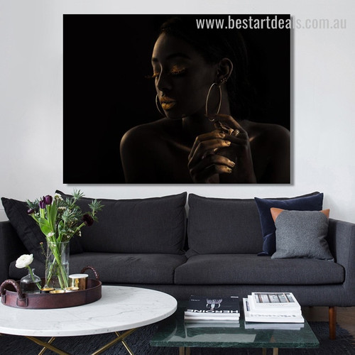 Black Lady Figure Contemporary Framed Oil Painting Portrait Canvas Print for Room Wall Assortment