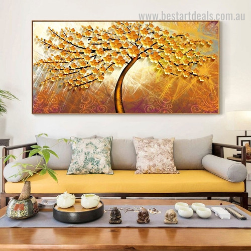 Golden Bloom Abstract Floral Modern Framed Heavy Texture Handmade Painting Picture Canvas Print for Room Wall Decoration