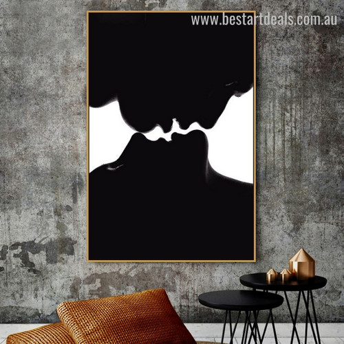Lover Pair Figure Modern Framed Portraiture Photo Canvas Print for Room Wall Outfit