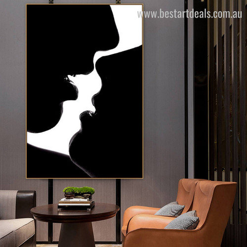 Lover Smooch Figure Modern Framed Artwork Photo Canvas Print for Room Wall Getup