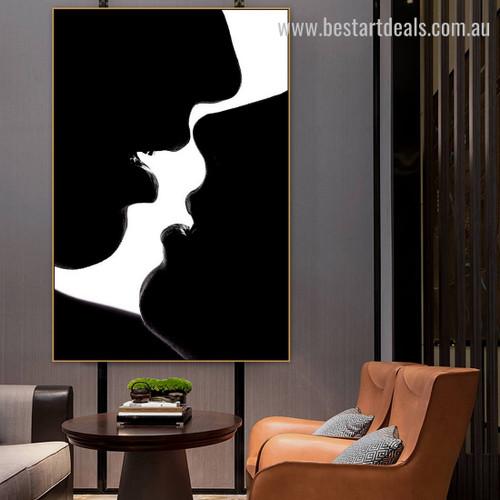 Lover Smooch Figure Modern Framed Artwork Photo Canvas Print for Room Wall Getup