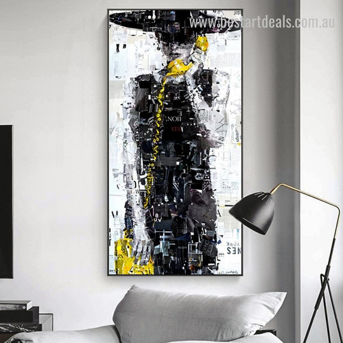 Newspaper Girl Abstract Fashion Modern Framed Painting Photograph Canvas Print for Room Wall Onlay
