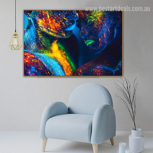 Multicolored Humans Abstract Figure Modern Framed Painting Picture Canvas Print for Room Wall Ornament