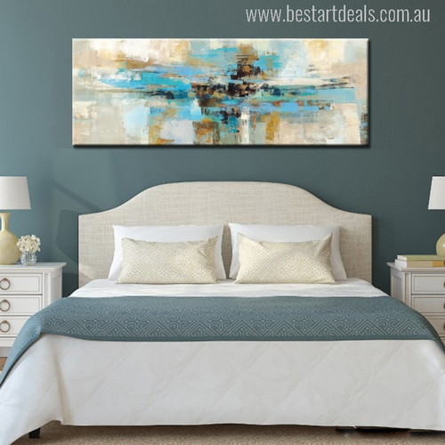 Abstract Blue Black Golden Painting Print for Bedroom Wall