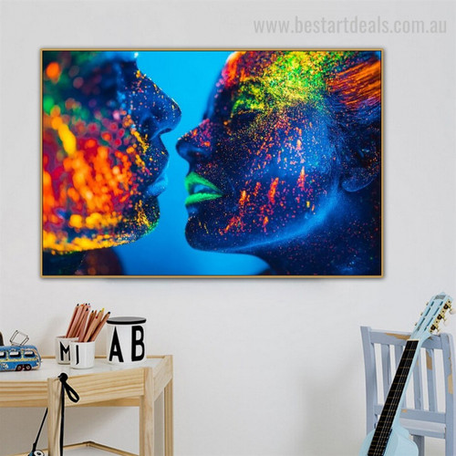 Calico Duet Abstract Figure Contemporary Framed Portraiture Pic Canvas Print for Room Wall Decoration