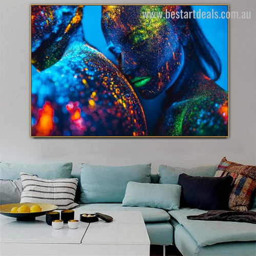Multicolor Pairs Abstract Figure Contemporary Framed Portraiture Picture Canvas Print for Room Wall Drape