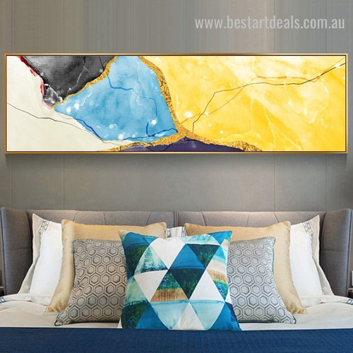 Golden Yellow Abstract Panoramic Modern Framed Painting Image Canvas Print for Room Wall Decor