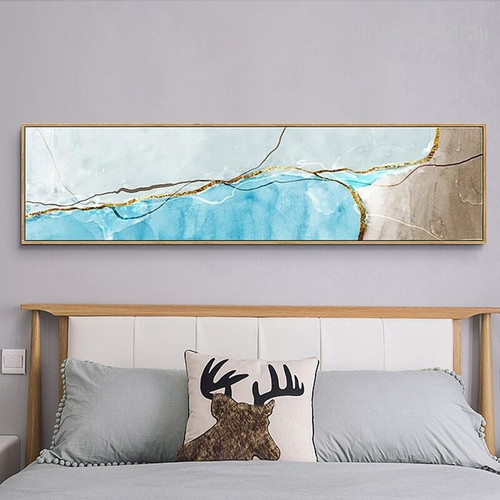 Golden Cyan Abstract Panoramic Modern Framed Painting Picture Canvas Print for Room Wall Outfit
