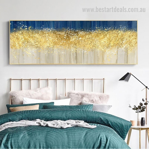Blue Golden Abstract Panoramic Modern Framed Artwork Photograph Canvas Print for Room Wall Adornment