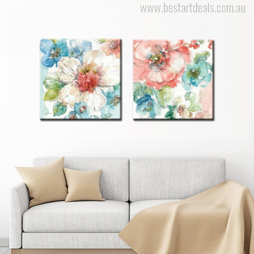 Abstract Watercolor Flowers Painting Print for Living Room Decor
