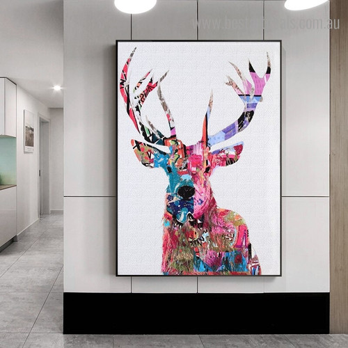 Sika Deer Animal Abstract Modern Framed Painting Picture Canvas Print for Room Wall Decor