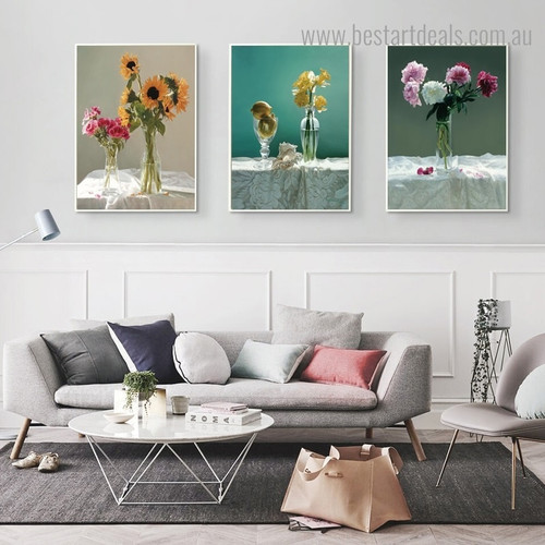 Flower Container Floral Modern Framed Portrayal Picture Canvas Print for Room Wall Decoration