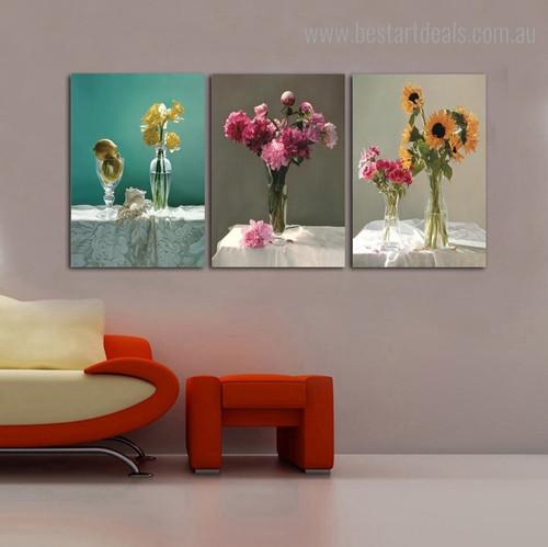 Vase Floral Modern Framed Portrayal Image Canvas Print for Room Wall Getup