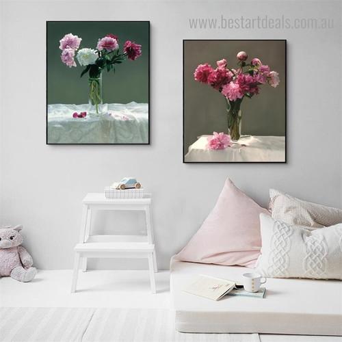 Glass Vase Floral Modern Framed Portrayal Image Canvas Print for Room Wall Disposition