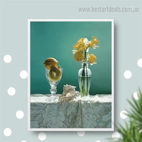 Daffodils Floral Modern Framed Portrayal Photo Canvas Print for Wall Getup