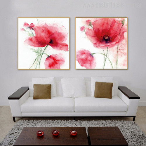 Abstract Poppy Flowers Painting Canvas Print for Living Room decor
