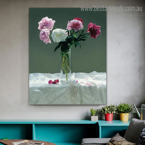Calico Peonies Floral Modern Framed Portrayal Photograph Canvas Print for Room Wall Getup