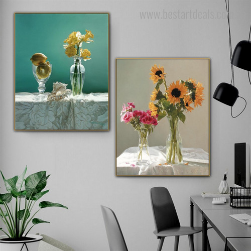Daffodil and Sunflowers Floral Modern Framed Painting Picture Canvas Print for Room Wall Finery
