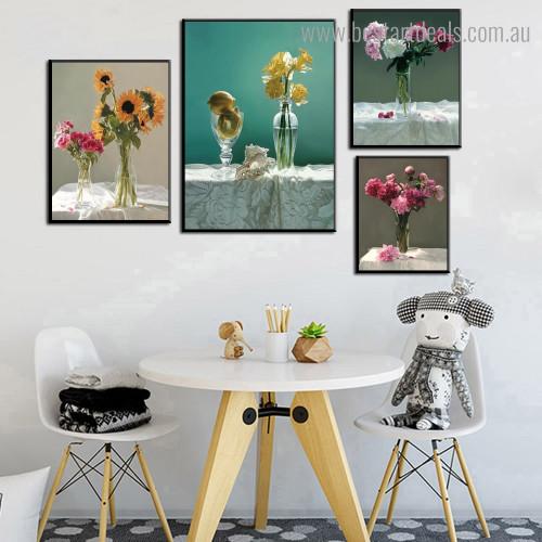 Glass Flowerpots Botanical Modern Framed Artwork Pic Canvas Print for Room Wall Decoration