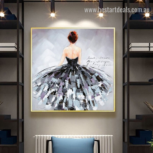 Girl Backside Abstract Fashion Handmade Framed Oil Painting Photo Canvas Print for Room Wall Outfit