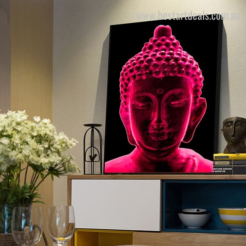 Red Buddha Religious Modern Framed Artwork Picture Canvas Print for Room Wall Assortment