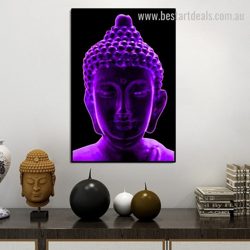Purple Buddha Religious Modern Framed Artwork Picture Canvas Print for Room Wall Onlay