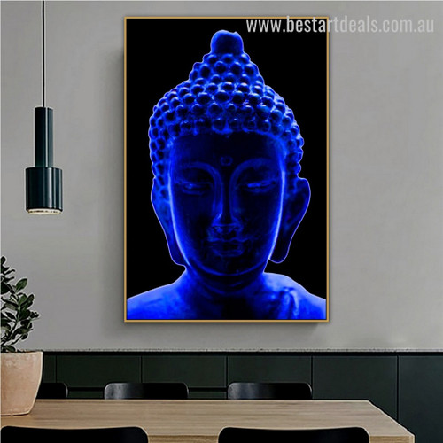 Blue Buddha Religious Modern Framed Portraiture Photo Canvas Print for Room Wall Finery