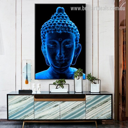 Cyan Buddha Religious Modern Framed Portraiture Image Canvas Print for Room Wall Adornment