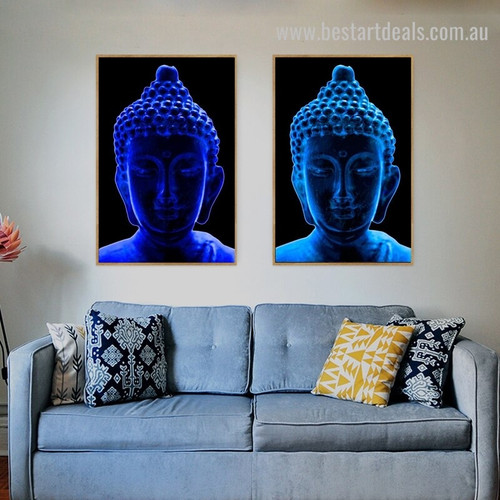 Buddha Statue Religious Modern Framed Portraiture Picture Canvas Print for Room Wall Adornment