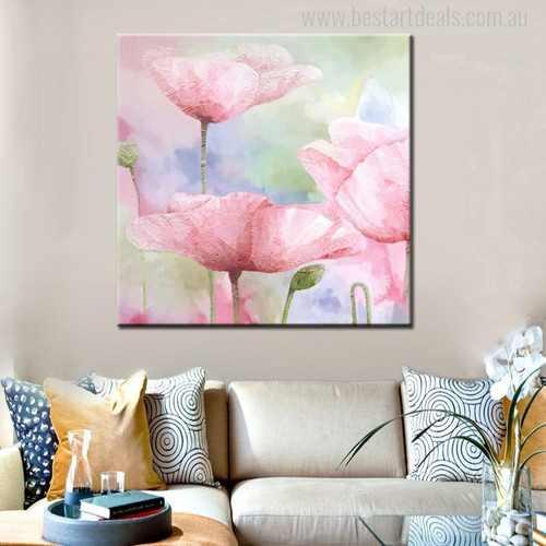 Pink Poppies Abstract Watercolor Flowers Painting Print for Living Room Wall art