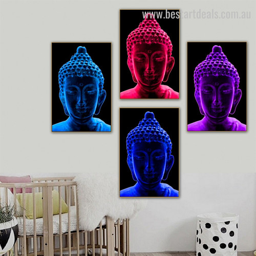 Buddha Sculpture Religious Modern Framed Painting Pic Canvas Print for Room Wall Moulding