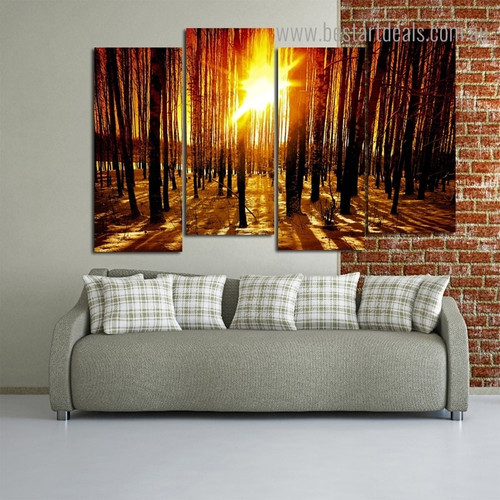 Sunrise Forest Landscape Nature Modern Framed Painting Image Canvas Print for Room Wall Decor
