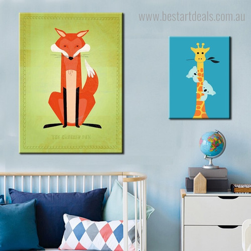 Fox Giraffe Animal Kids Modern Framed Portraiture Image Canvas Print for Room Wall Ornament