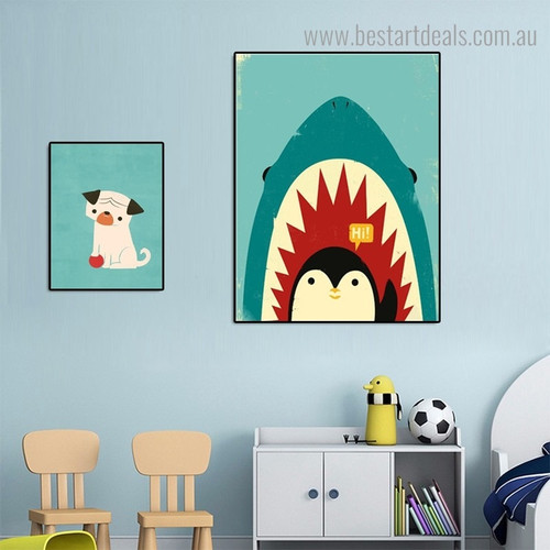Dog Shark Animal Kids Modern Framed Portraiture Image Canvas Print for Room Wall Finery