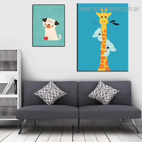 Dog Giraffe Animal Animated Modern Framed Painting Pic Canvas Print for Room Wall Flourish