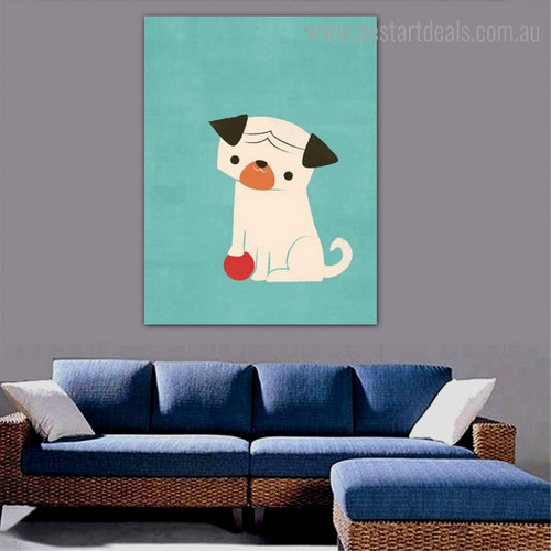 Pug Dog Animal Cartoon Modern Framed Painting Photo Canvas Print for Room Wall Decor