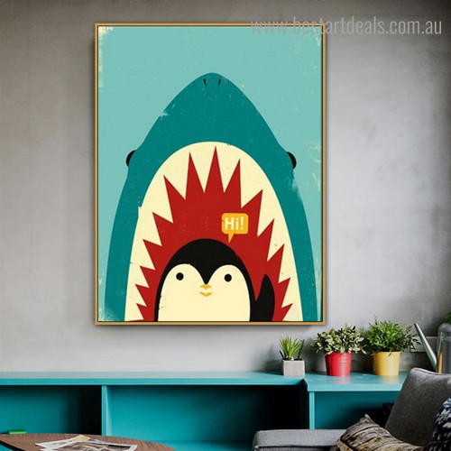 Hi Penguin Cartoon Animal Bird Kids Modern Framed Artwork Photo Canvas Print for Wall Hanging Decor