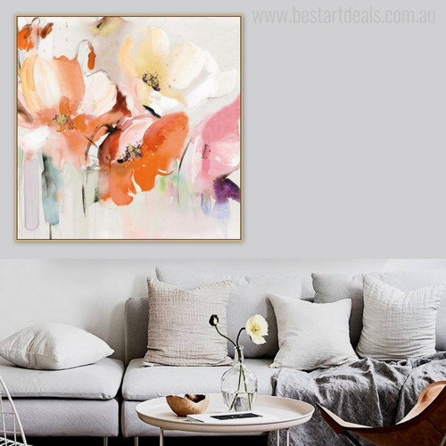 Abstract Watercolor Poppy Flowers Painting Print for Room Wall Decor